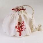 Art-1 lampadario in lino puro corallo rosso