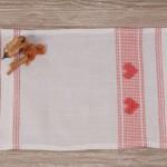 Art-1 lavetta in misto lino bianco con cuori arancio