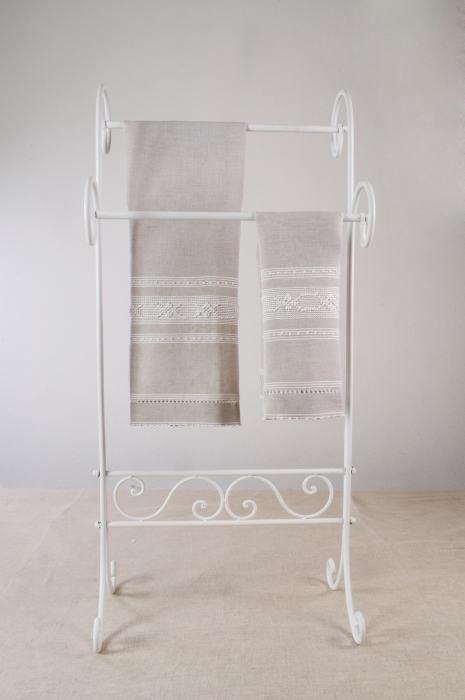 Art-1 set asciugamani misto lino esagono-fiorellino bianco