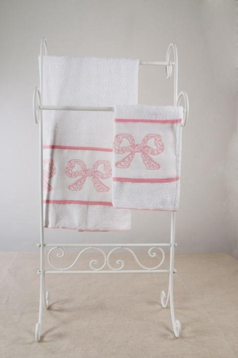 Art-1 set asciugamani spugna e lino fiocchi rosa baby
