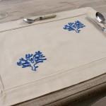 Art-1 tovaglietta colazione cotone corallo azzurro scuro