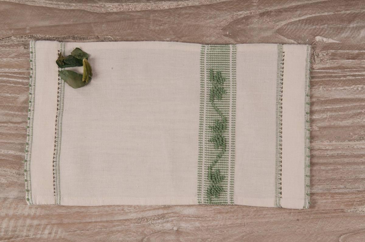 Art-10 lavetta in misto lino panna con mezza stella verde salvia