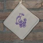 Art-10 presina in cotone con pavoncella lilla
