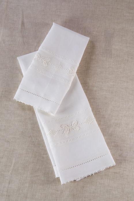 Art-10 set asciugamani misto lino farfalla-rombetto bianco