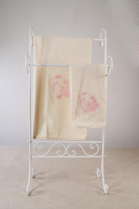Art-10 set asciugamani spugna pavoncella rosa baby