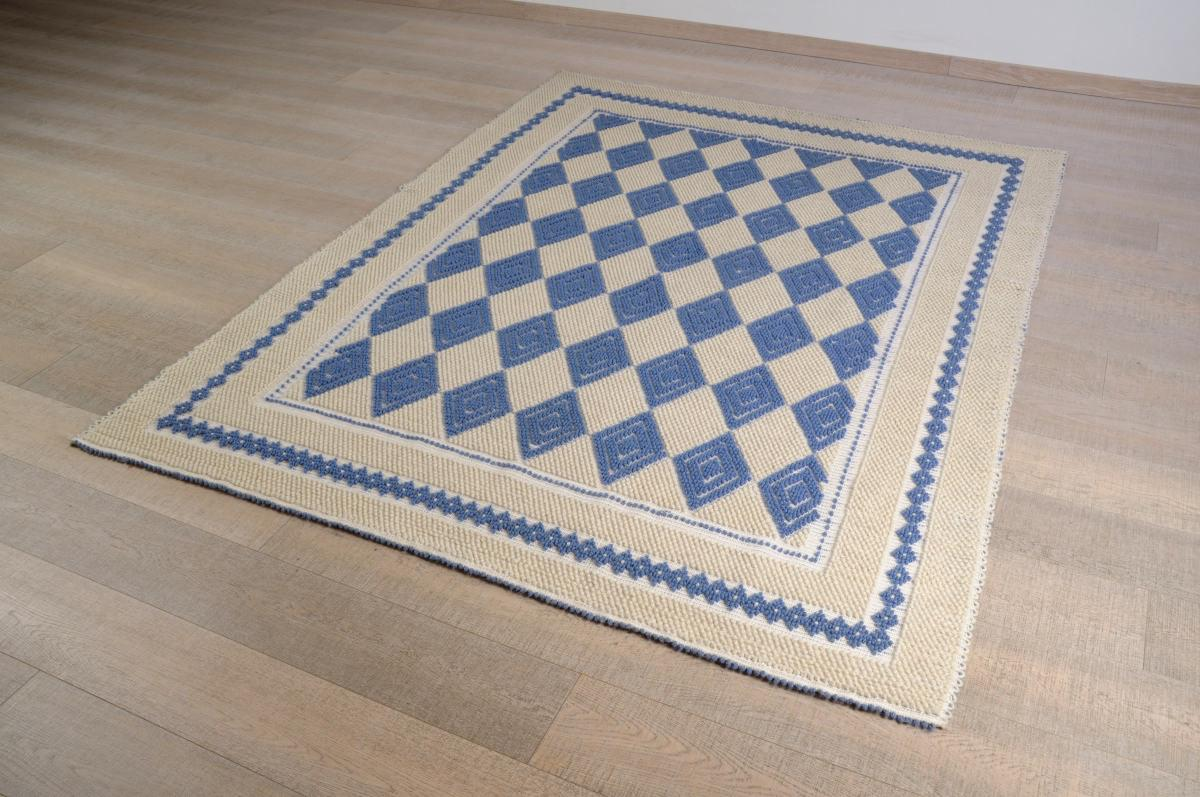 Art-10 tappeto lana tessuto a rilievo rombo pintau