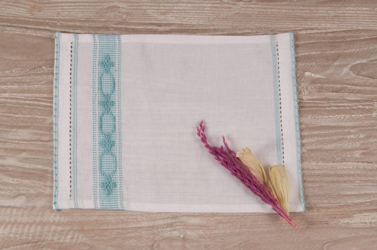 Art-11 lavetta in misto lino bianco con esagoni e fiorellini celeste