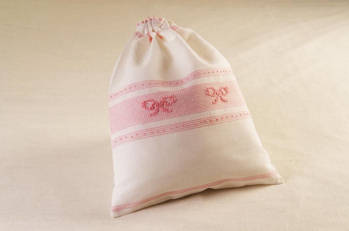 Art-12 sacco porta oggetti misto lino fiocchi rosa baby