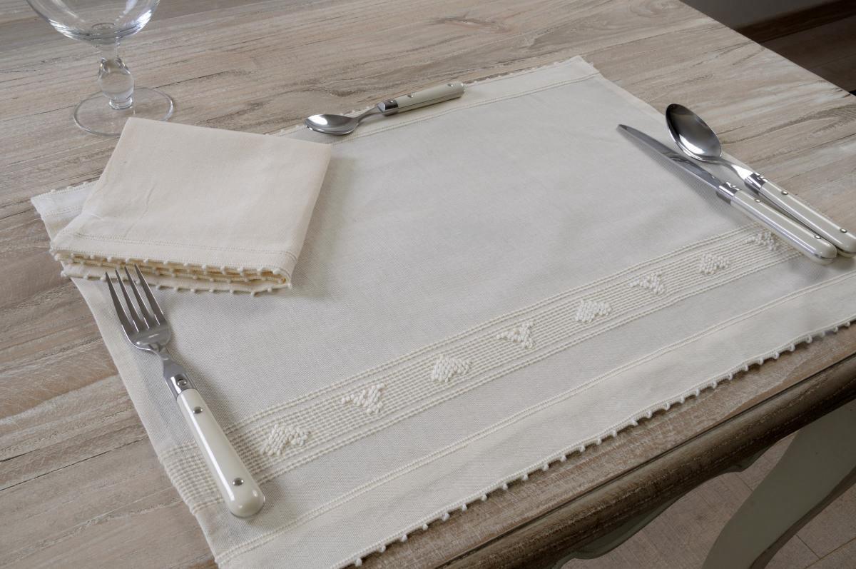 Art-13 tovaglietta colazione misto lino con tovagliolo cuori panna ...