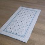 Art-14 tappeto cotone tessuto a rilievo rombi e fiori