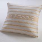 Art-17 copricuscino misto lino roselline bianco con sottotrama giallo oro