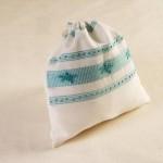 Art-19 sacchetto porta oggetti misto lino stelle marine celeste