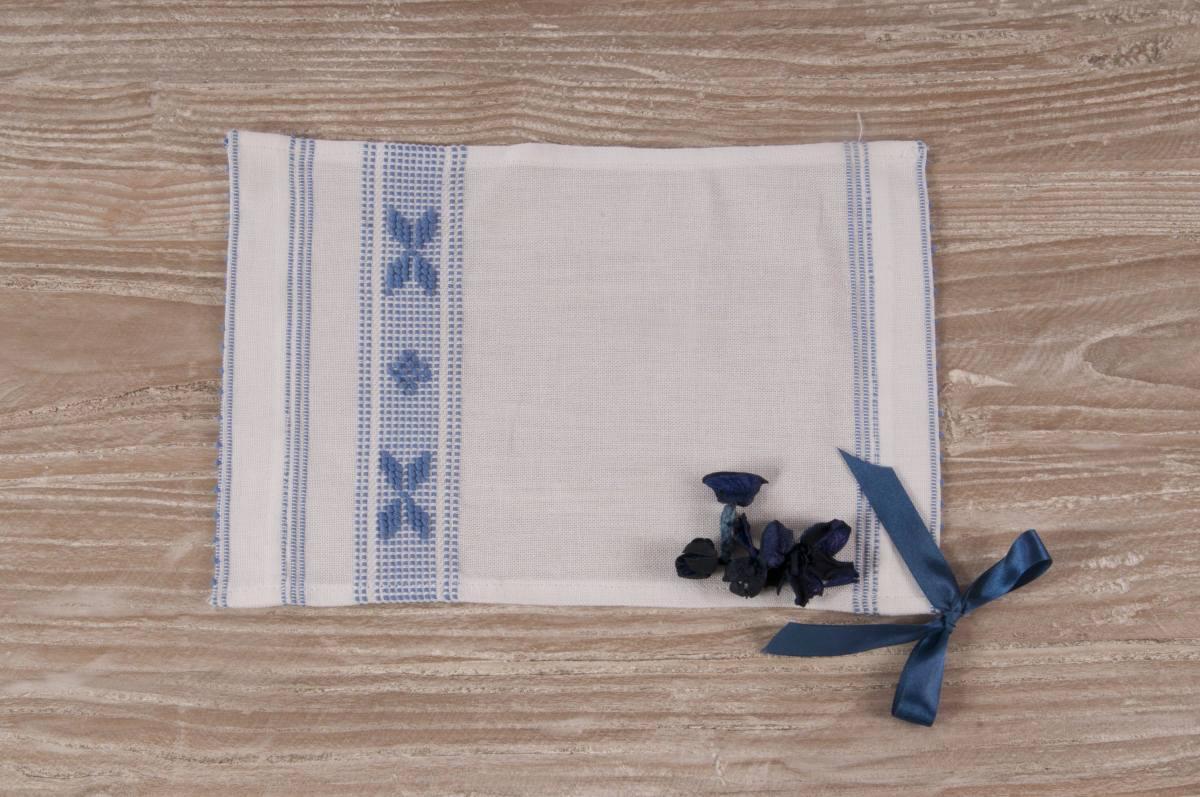 Art-2 lavetta in misto lino bianco con farfalle azzurro 13