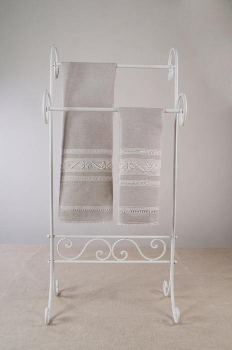 Art-2 set asciugamani misto lino mezza stella bianco