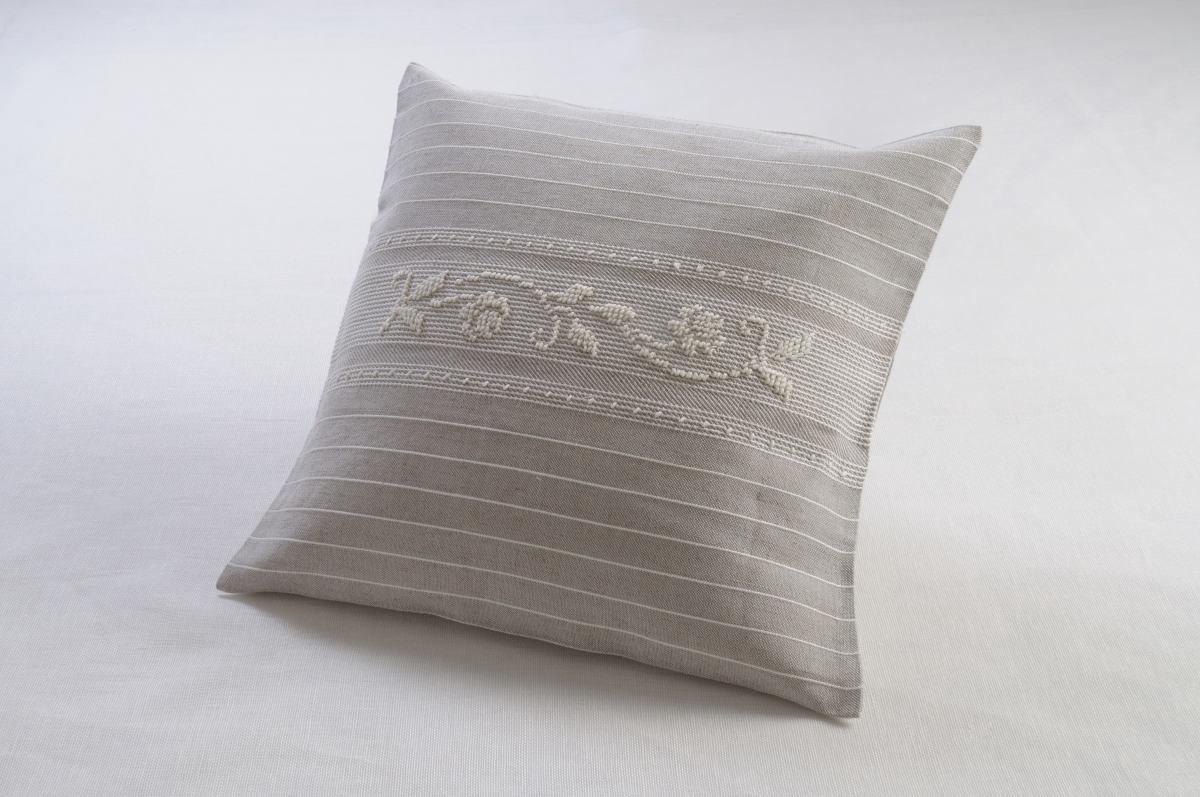 Art-3 copricuscino misto lino roselline bianco