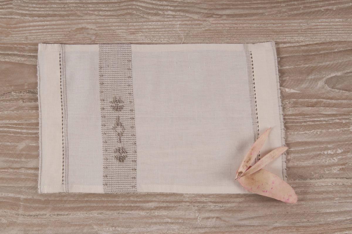Art-3 lavetta in misto lino panna con rombetto e fiori tortora