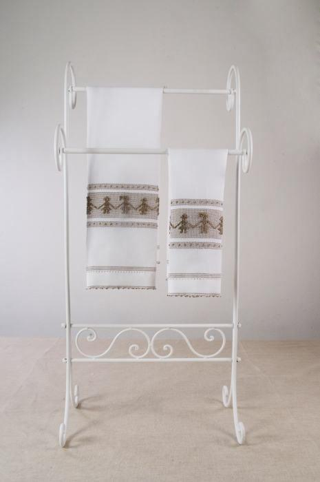 Art-3 set asciugamani misto lino ballo sardo marrone scuro