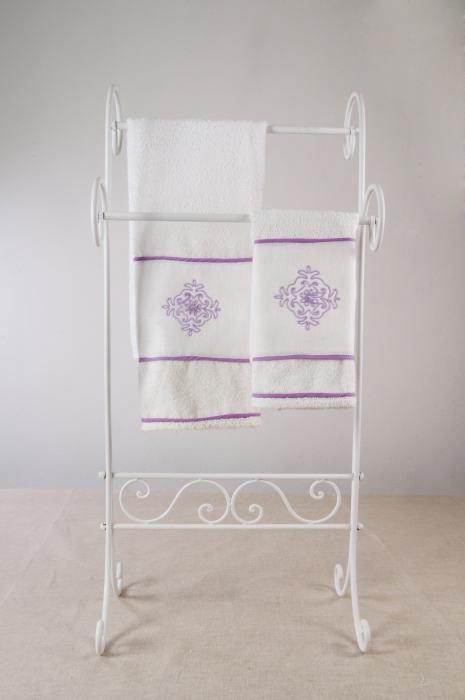 Art-3 set asciugamani spugna e lino pistoccu lilla