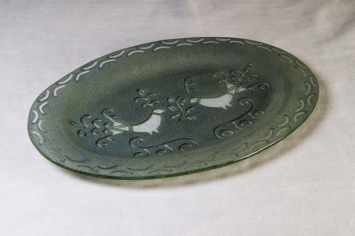 Art-3 vassoio ovale vetro pavoncella grigia
