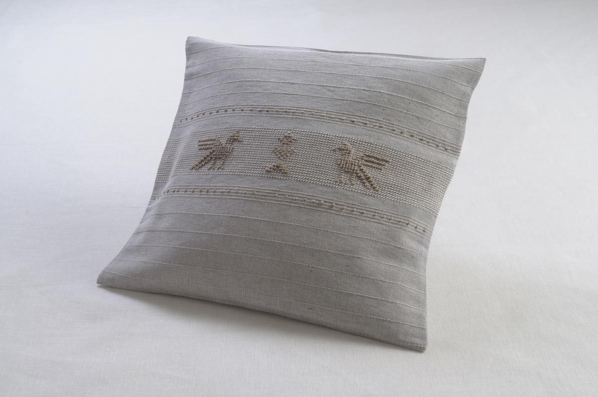 Art-4 copricuscino misto lino pavoncelle tortora