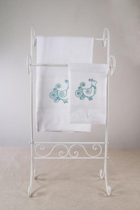 Art-4 set asciugamani spugna e lino pavoncella verde acqua