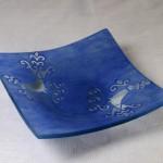 Art-5 centrotavola vetro pavoncella blu