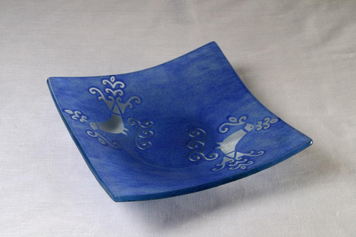 Plafoniere Vetro Blu : Art centrotavola vetro pavoncella blu annasegreto