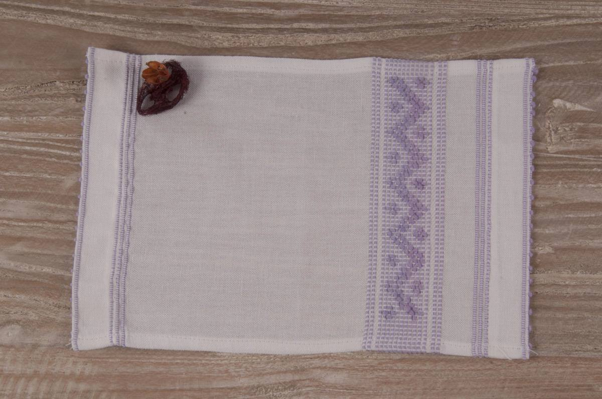 Art-5 lavetta in misto lino bianco con zig zag lilla