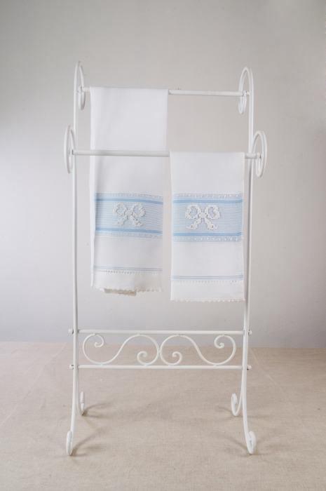 Art-5 set asciugamani misto lino fiocchi bianco con sottotrama celeste