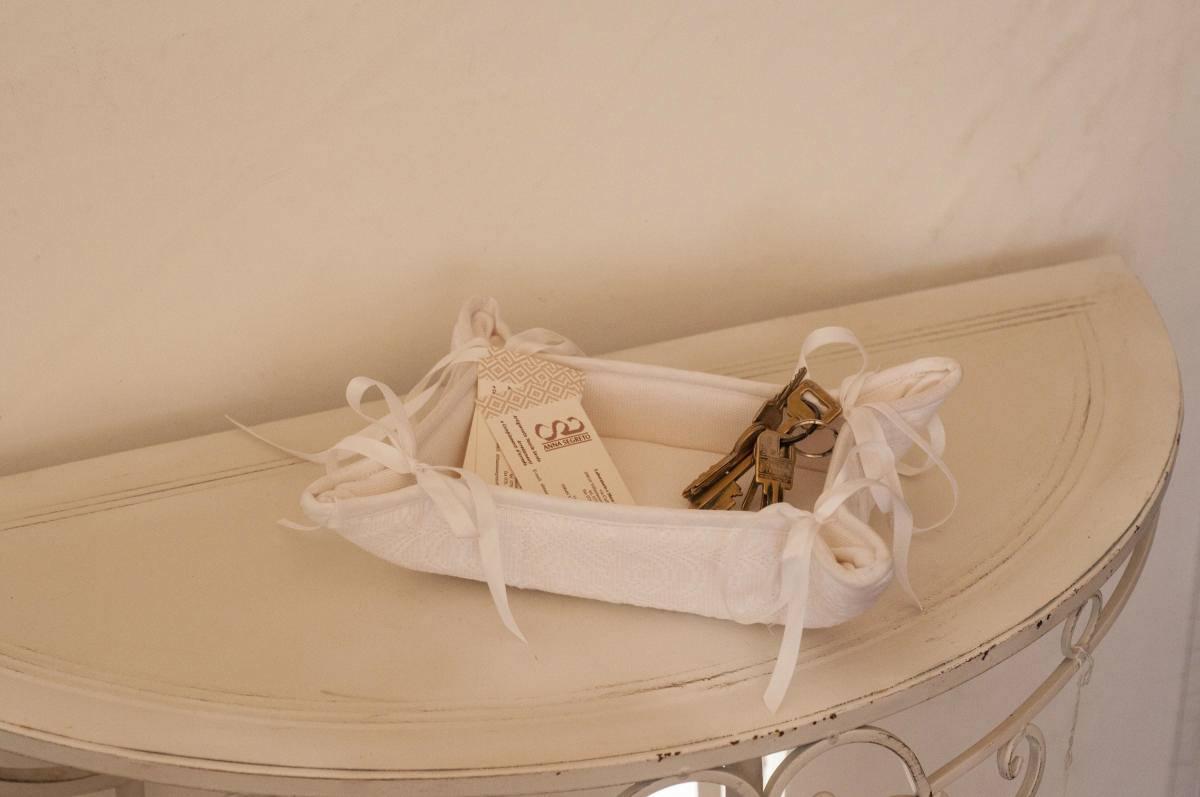 Art-5 svuota tasche cotone e misto lino pistoccu bianco