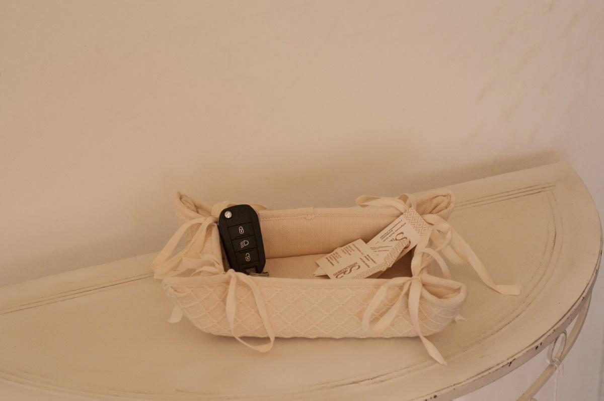 Art-6 svuota tasche cotone e misto lino rombetti panna