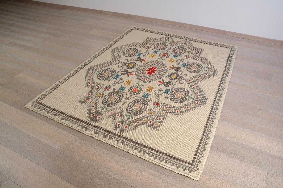 Art-5 tappeto lana tessuto pieno sa mosta e su soi