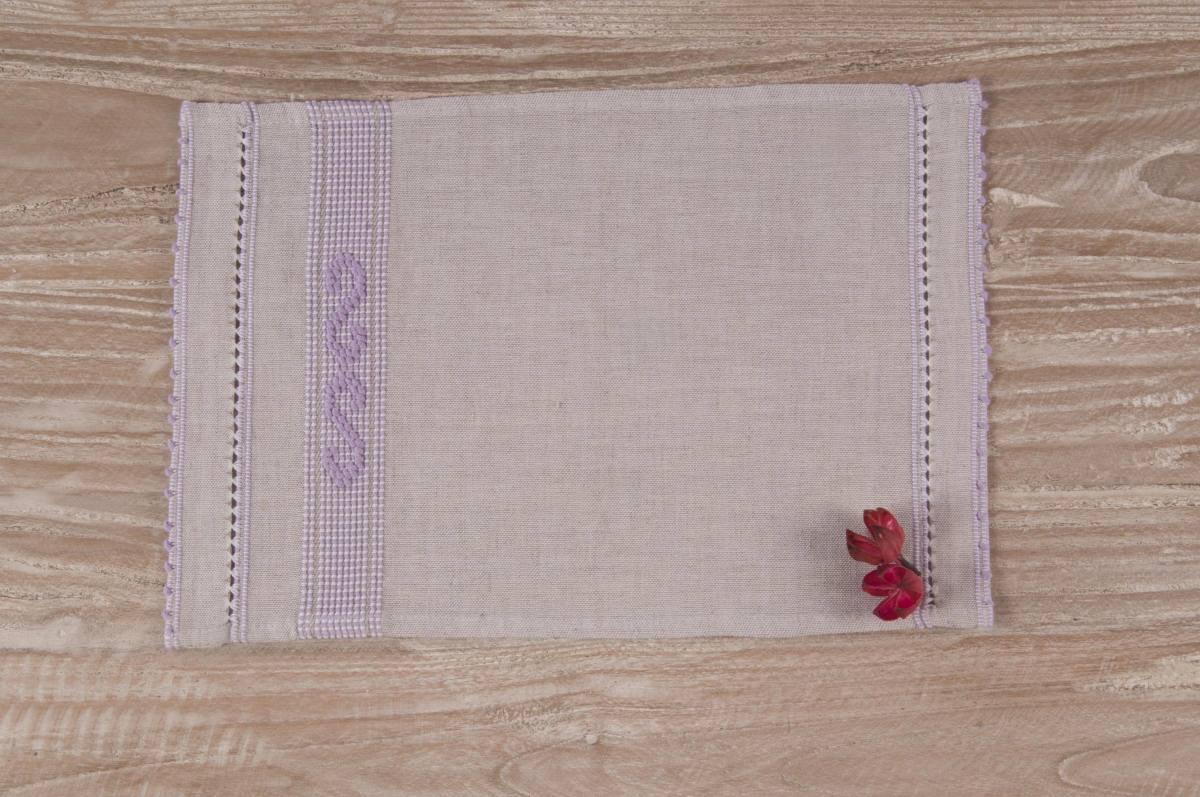 Art-6 lavetta in misto lino tortora con onde lilla