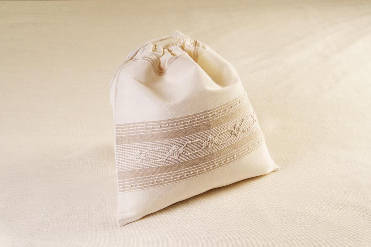 Art-6 sacco porta oggetti misto lino esagono-fiorellino panna con sottotrama nocciola