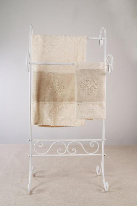 Art-6 set asciugamani spugna e lino pistoccu panna