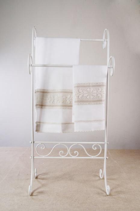 Art-7 set asciugamani misto lino pistoccu bianco con sottotrama nocciola