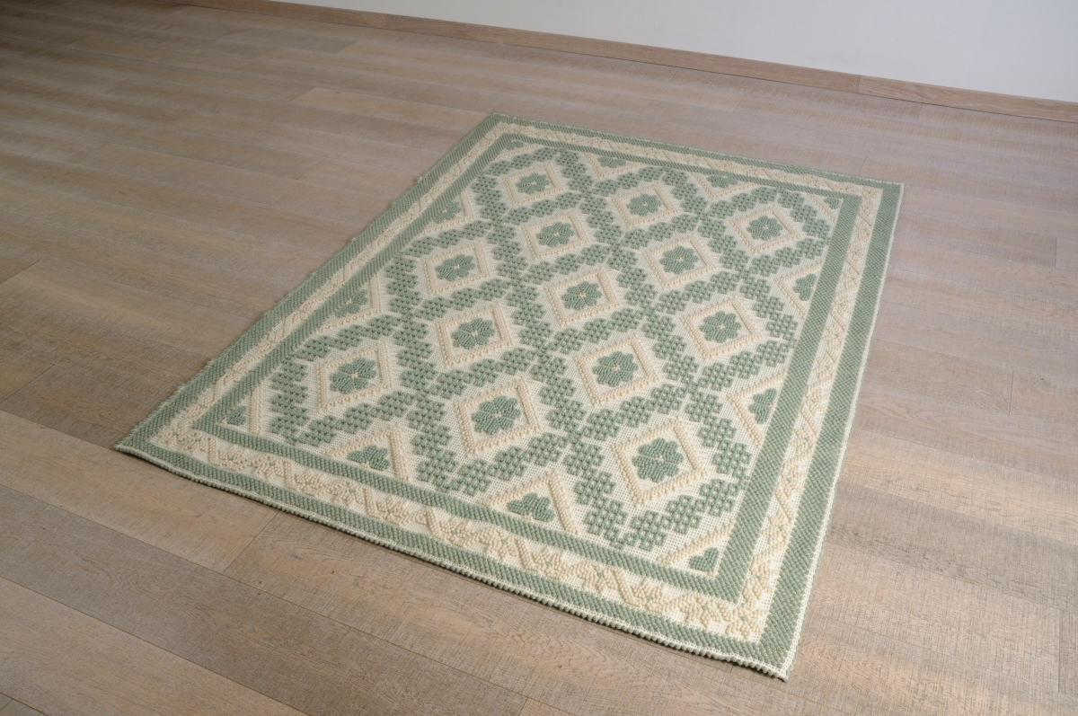 Art-7 tappeto lana tessuto a rilievo rombo margherita - Annasegreto