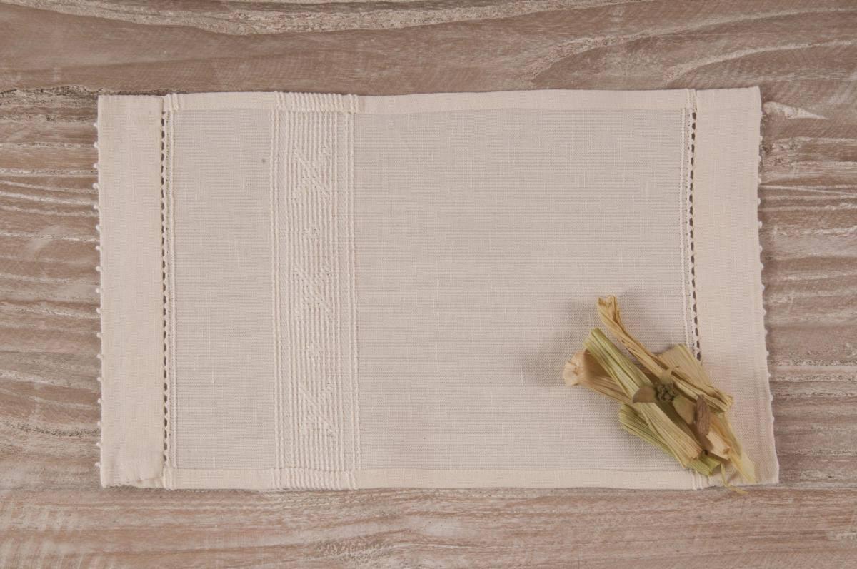 Art-8 lavetta in misto lino panna con croci panna