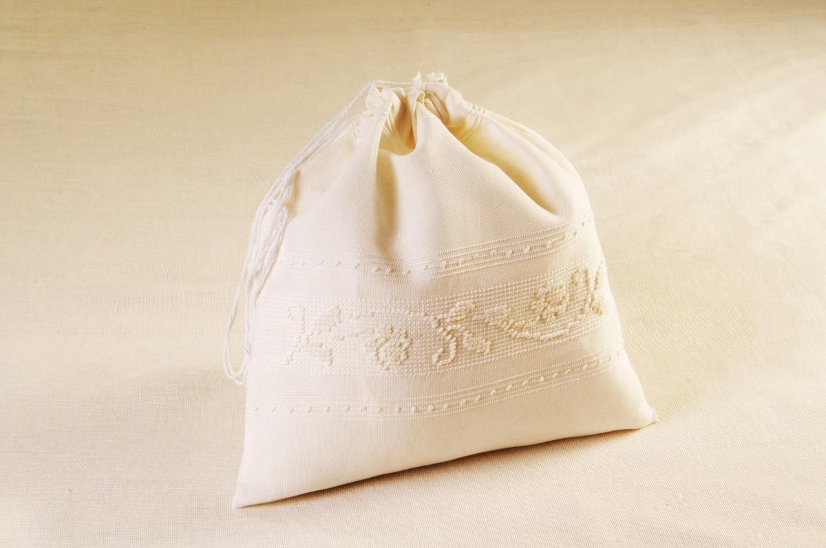 Art-8 sacco porta oggetti misto lino roselline panna