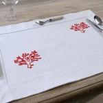 Art-8 tovaglietta colazione cotone corallo rosso