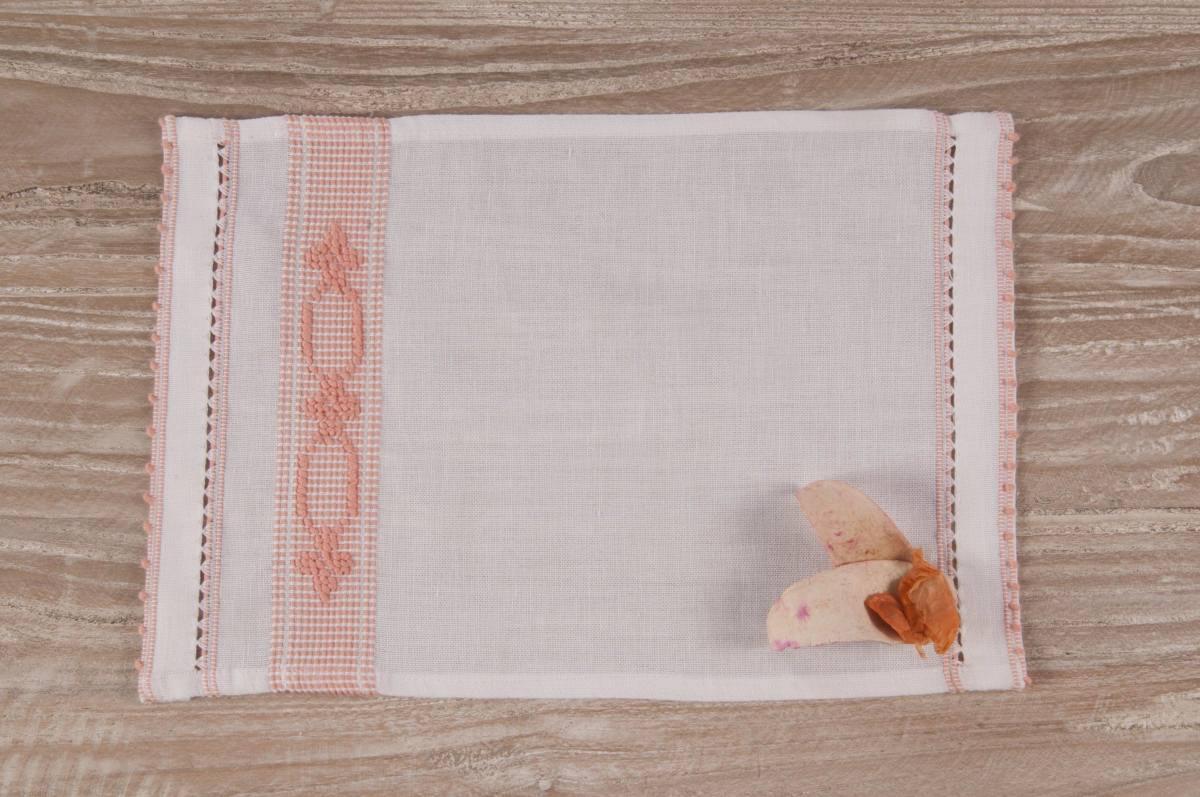 Art-9 lavetta in misto lino bianco con esagoni e fiorellini albicocca