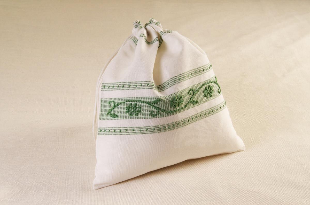 Art-9 sacco porta oggetti misto lino margherite verde salvia