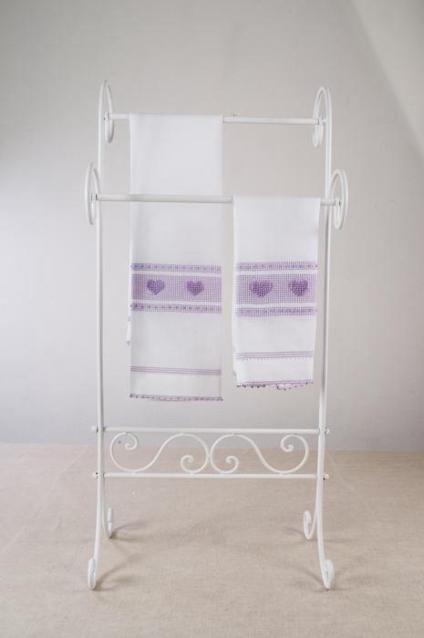 Art-9 set asciugamani misto lino cuori lilla