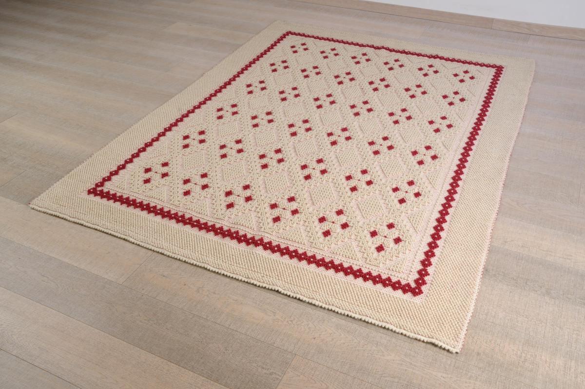 Art-9 tappeto lana tessuto a rilievo rombo a stelle