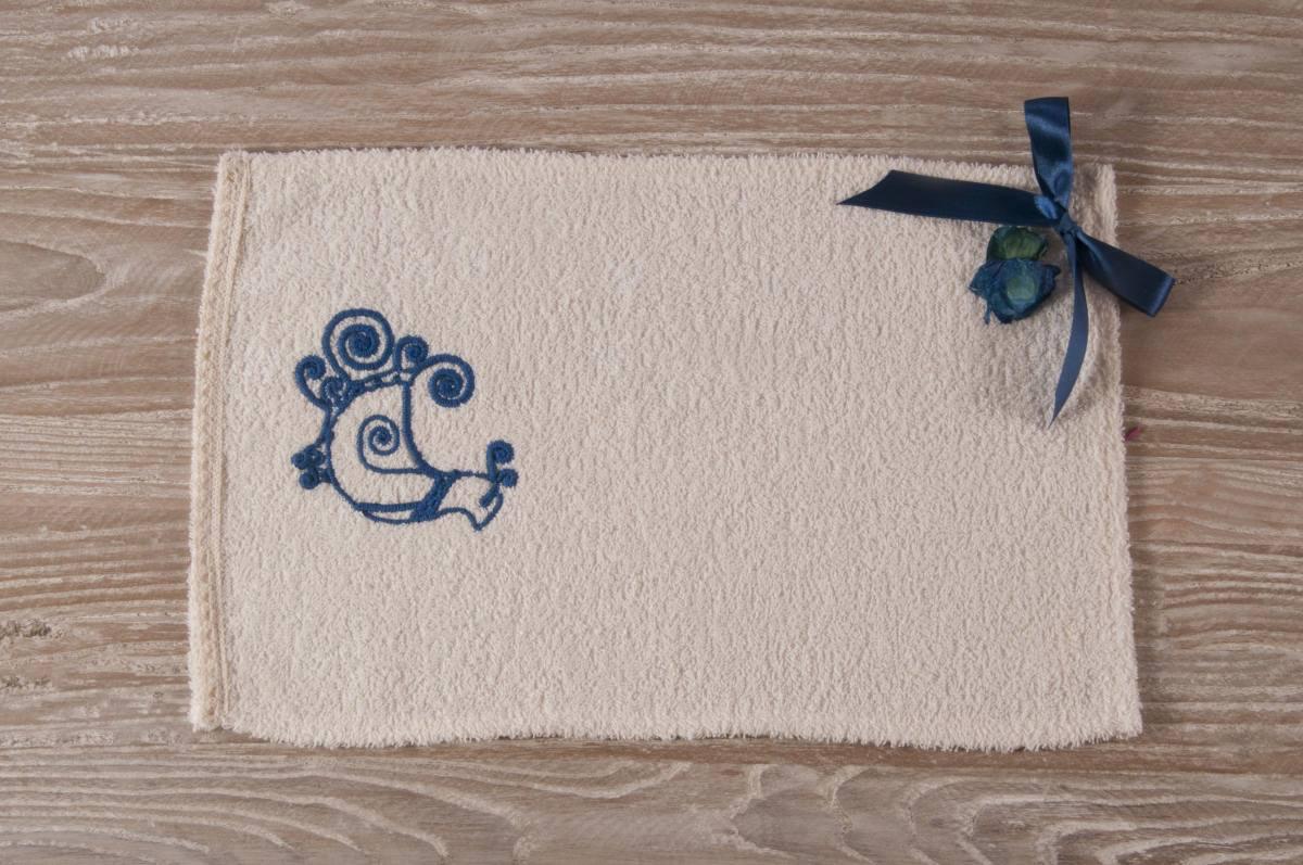 Art-9 lavetta in spugna panna con disegno pavoncella azzurro scuro ...