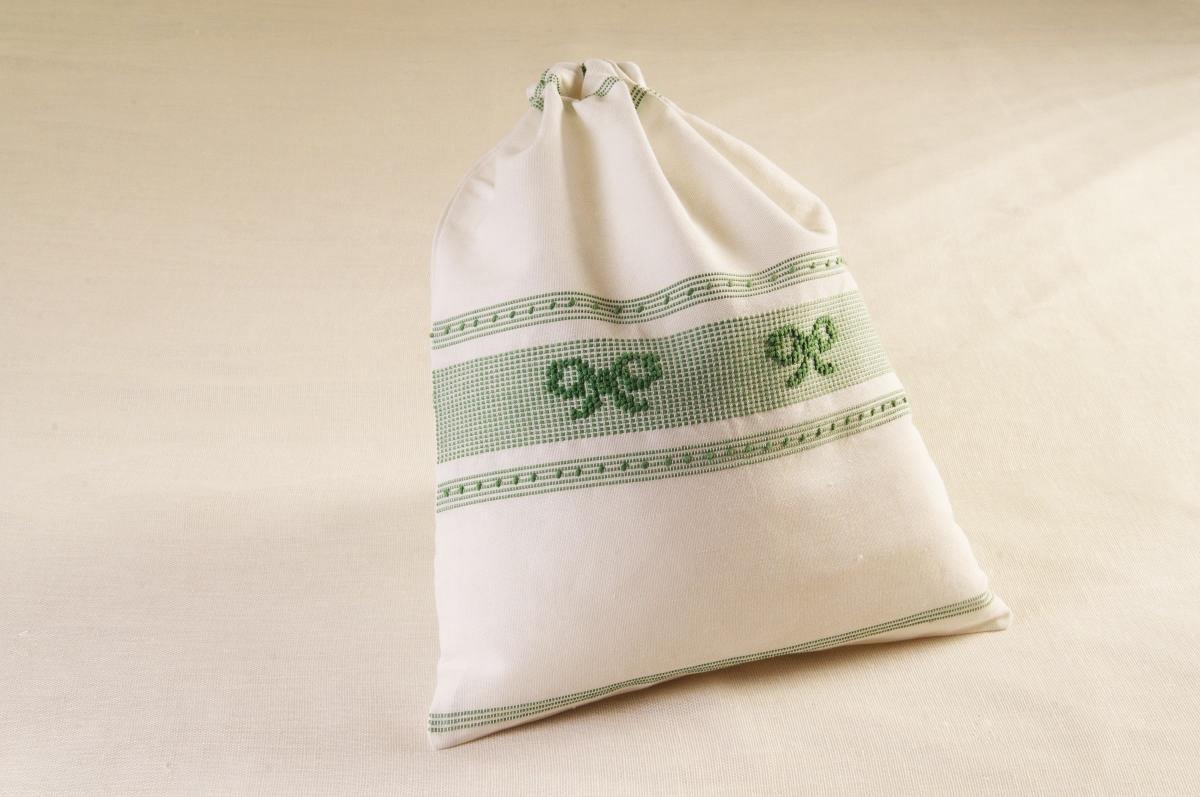 art-11 sacco porta oggetti misto lino fiocchi verde salvia