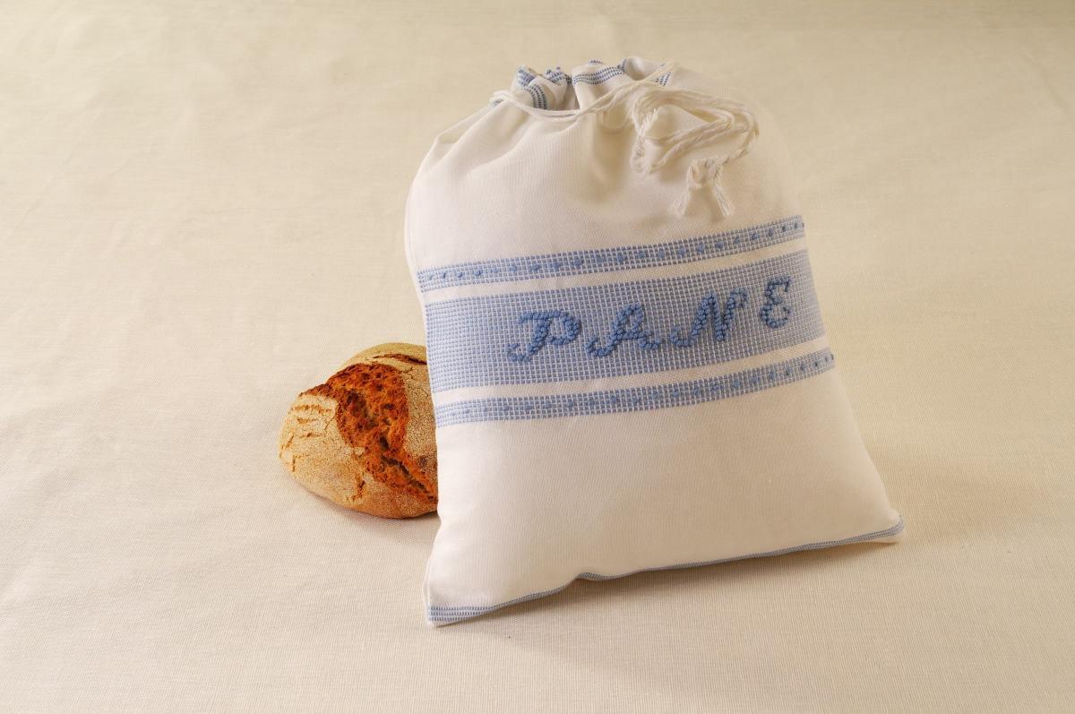 Art-1 sacco porta pane misto lino e celeste