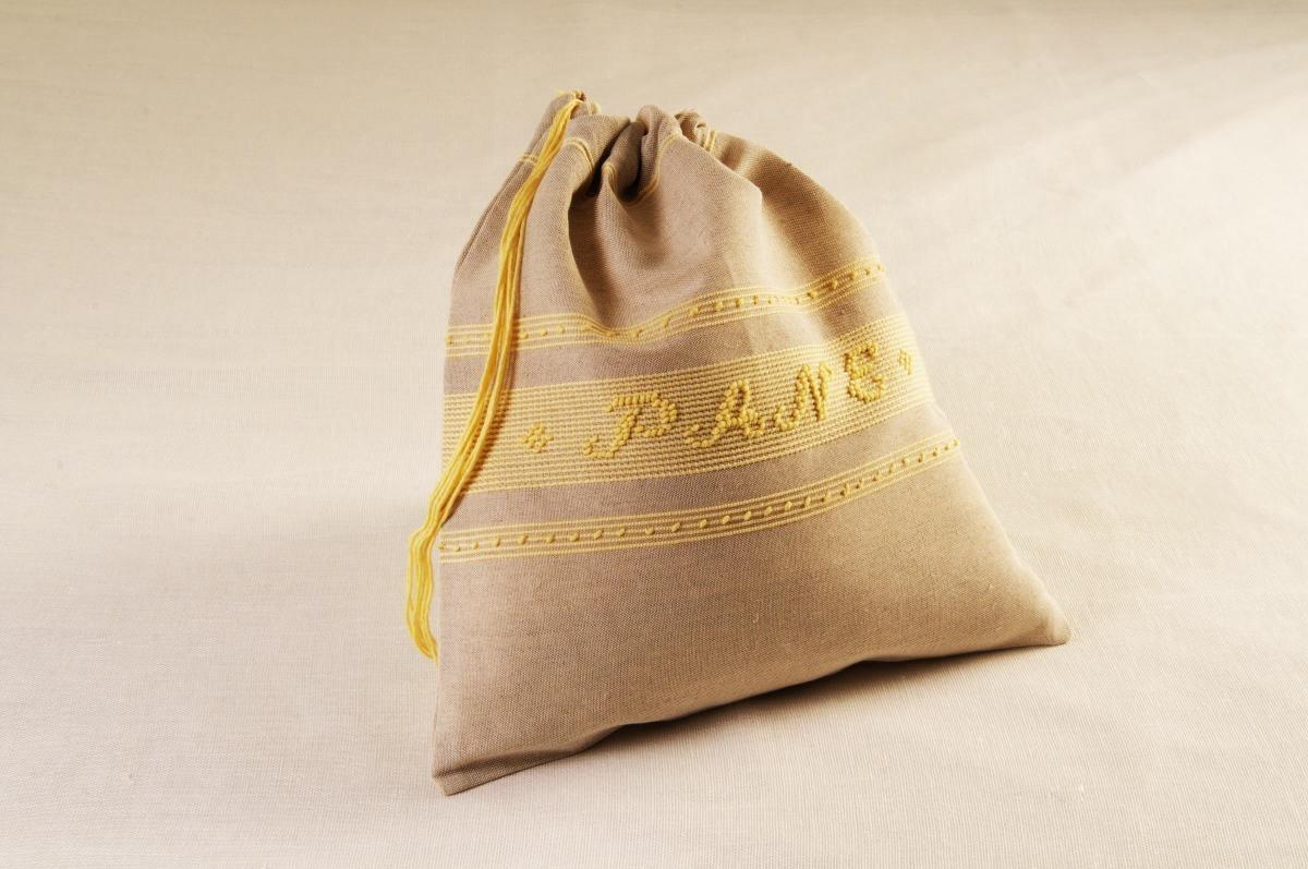 Art-14 sacco porta pane misto lino giallino