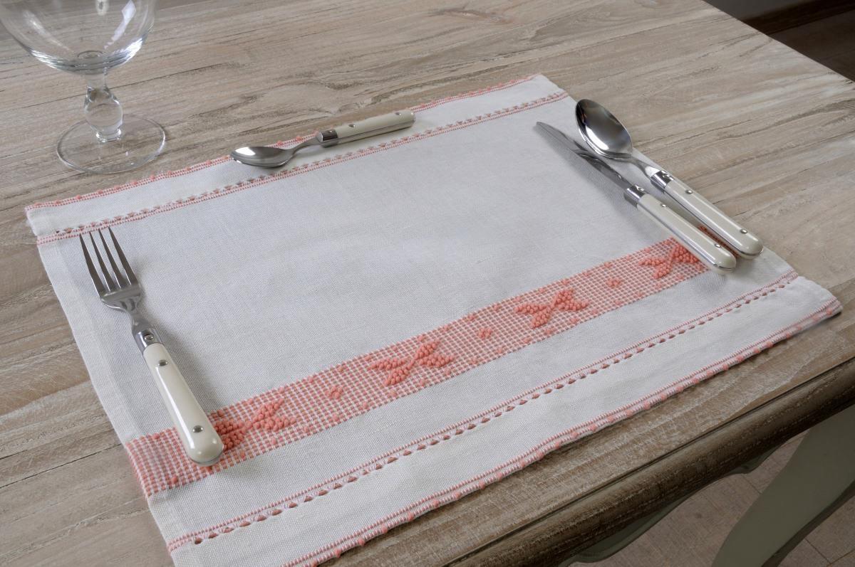 Art-14 tovaglietta colazione misto lino farfalle rosa antico