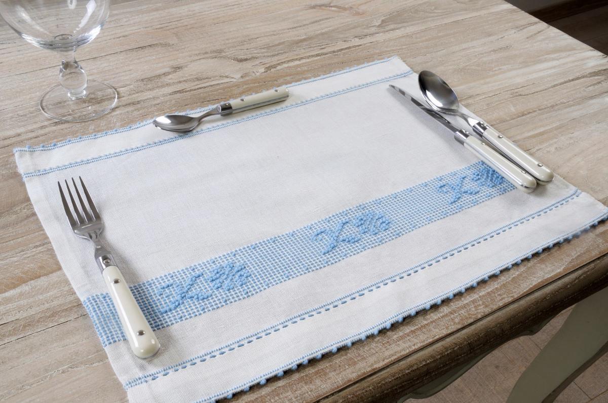 Art-15 tovaglietta colazione misto lino margherite celestino